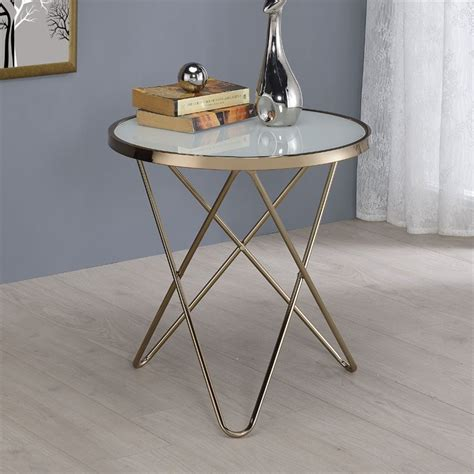 frosted glass end table acme valora end table in frosted glass and chagne 81827