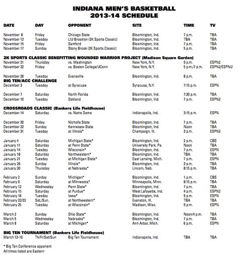printable uk basketball schedule 2014 indiana announces 2013 2014 basketball schedule inside
