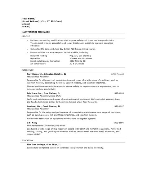 Machine Technician Cover Letter by Diesel Mechanic Resume Exles Resume Sle Caterpillar Mechanic Resume Diesel Mechanic