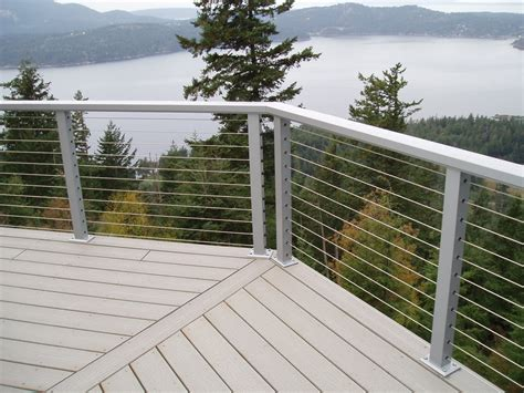 modern cable deck railing railing stairs and kitchen