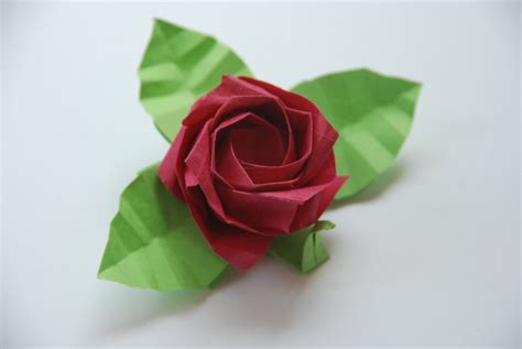 How To Make A Paper With Stem - origami with stem and leaves four blue roses customized