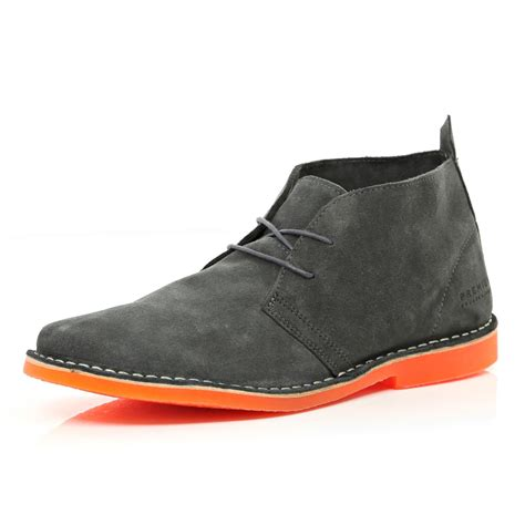 gray suede boots river island grey suede jones premium desert boots in