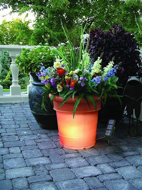 gardenglo solar lighted planters