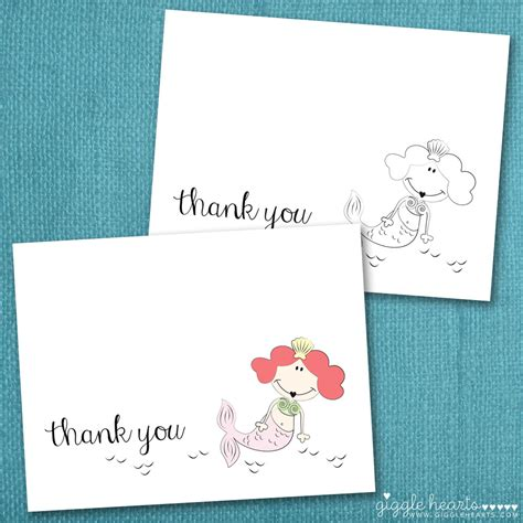 Thank You Card Downloads Free Printable Mermaid Thank You Cards For Summer