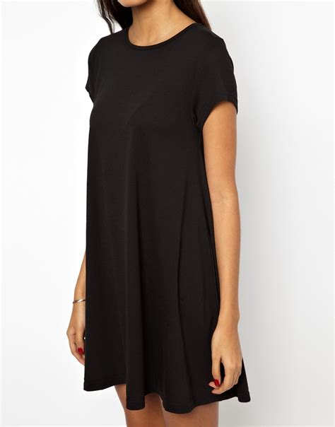 short sleeve swing dress glamorous swing dress short sleeve in black lyst
