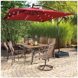Offset Rectangular Patio Umbrella View Wilson Fisher 174 Solar Offset 11 X 8 Rectangular Umbrella With Base Solar Lights Deals