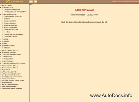 lexus lx470 pdf manual repair manual cars repair manuals lexus lx470 uzj100