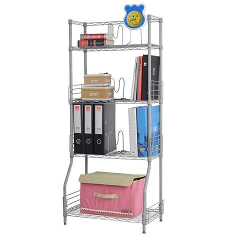 4 Shelf Book Rack by Langria 4 Tier Wire Bookshelf Book Rack Storage