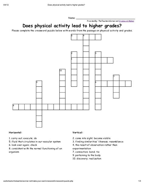 Physical Health Worksheets by Printables Physical Education Worksheets