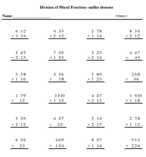 Division Practice Worksheets by Fractions Practice Math Sheets Division Mixed Fractions