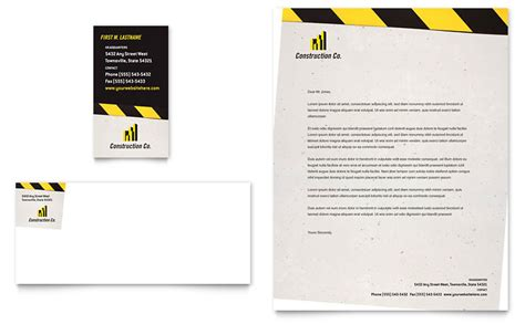 construction business card template word industrial commercial construction business card