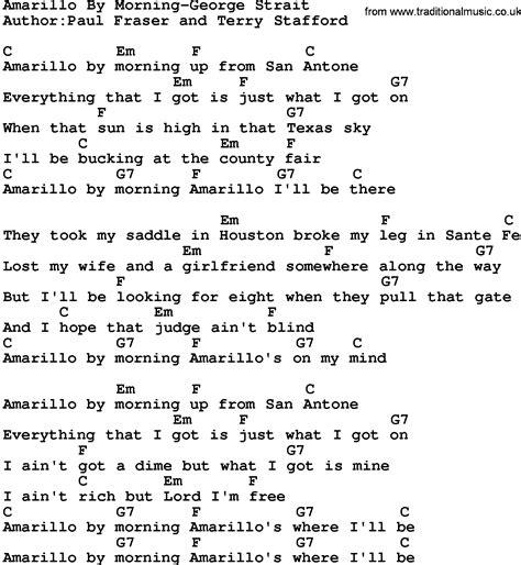 lyrics by country amarillo by morning george strait lyrics and