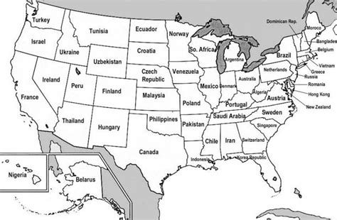 us state map not labeled coloring page united states of america
