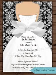 damask bow bridal shower invitation wedding invitation