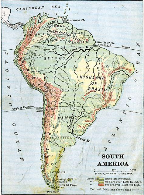 south america map highlands south america