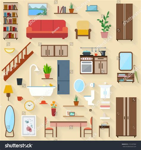 house of furniture furniture set rooms house flat style vectores en stock 215187904 shutterstock