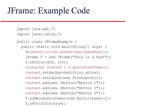 import javax swing jframe basic swing gui controls in java ppt video online download