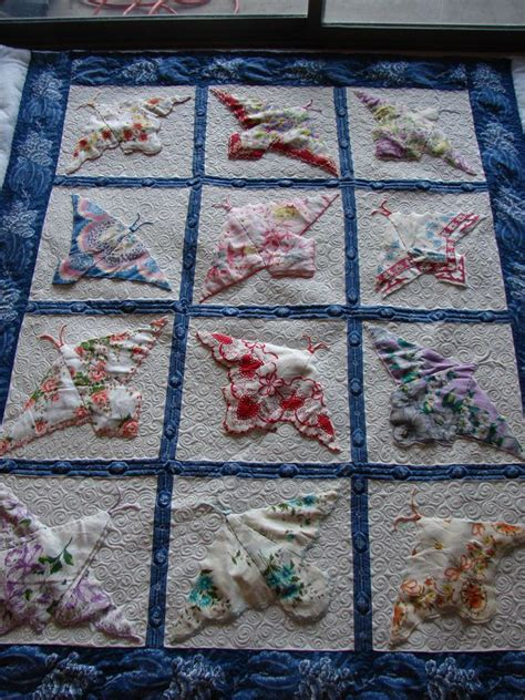 Handkerchief Butterfly Quilt Pattern by Quilt Of Butterflies From Vintage Hankies Hankie Ideas