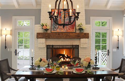 Midcentury Modern Armchair White Brick Fireplace Dining Room Traditional With