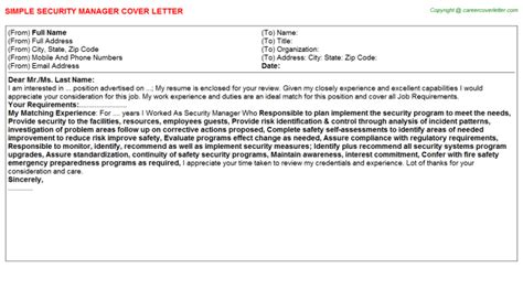 security manager cover letters
