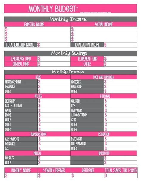 printable household organization charts 2 free household monthly budget printables organization