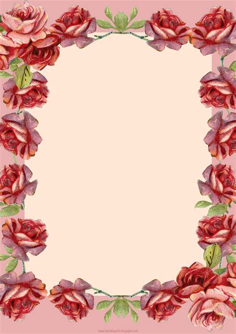 Free Printable Stationary With Roses | free printable vintage rose stationery ausdruckbares