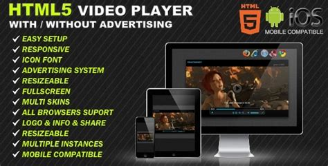 Html5 Player Template by Html5 Responsive Player Advertising By