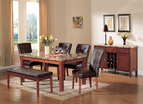 stone top benches bologna dining table set brown marble stone top bench 6pc