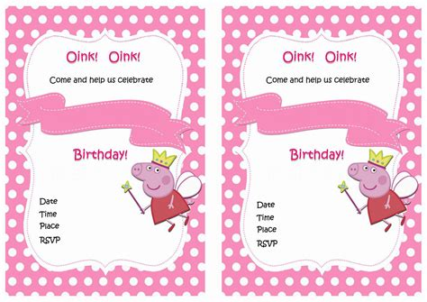 peppa pig invitation card template peppa pig birthday invitations birthday printable