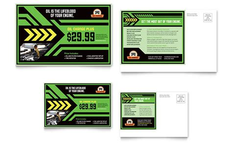 oil change postcard template word publisher