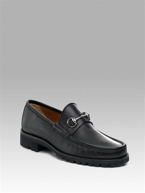 black gucci loafers gucci silver bit lug sole loafers in black for lyst