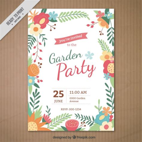 garden invitation template garden invitation with a floral frame vector free