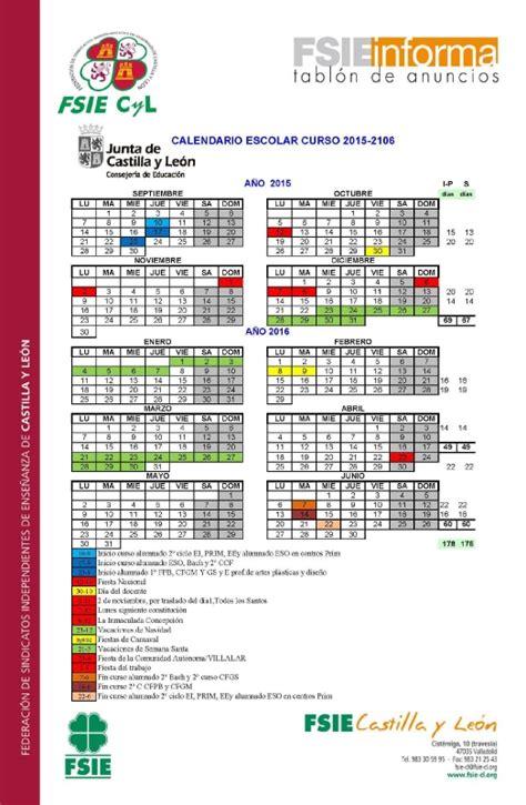 Calendario Escolar Castilla Y Curso 2015 16 Fsie Castilla Y Le 243 N Calendario Escolar Curso 15 16