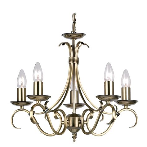 Brass Ceiling Light Fittings Bernice 5 Light Fitting In Antique Brass Endon 2030 5an