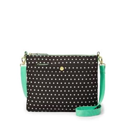 Fossil Satchel Navy Polkadot fossil key per top zip bag in black bone polka dot