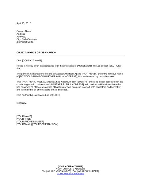 notice  dissolution partnership template word   business   box