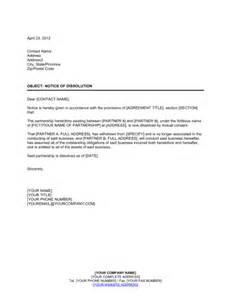 Partnership Break Letter notice of dissolution partnership template amp sample form