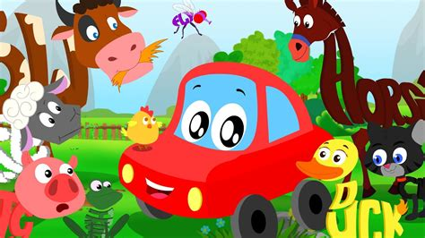 red car rhymes animals sound song  words world learn animal names sounds