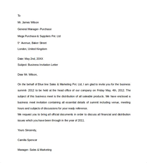 Business Letter Of Invitation Pdf sle business invitation letter 9 free