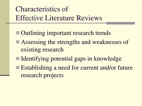 literature characteristics ppt strategies for writing literature reviews powerpoint