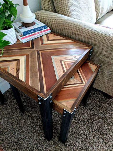nesting  table  decorative wooden inlay