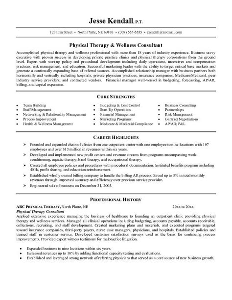Therapy Resume Objectives by Tips Physical Therapist Sle Resume Recentresumes