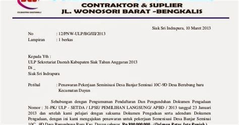 bentuk dokumen penawaran surat penawaran pengadaan
