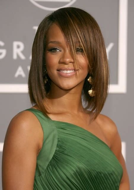 medium straight hairstyles with bangs rihanna medium length straight bob hairstyle with bangs
