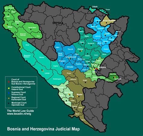map of bosnia bosnia herzegovina judicial map