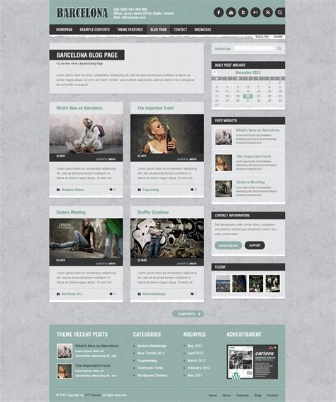 design inspiration wordpress blog page of barcelona wordpress theme wp design