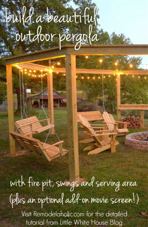outdoor pergola swings remodelaholic tutorial build an amazing diy pergola and