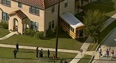 fort sam houston housing school bus carrying 25 children crashes into house at military base daily mail online