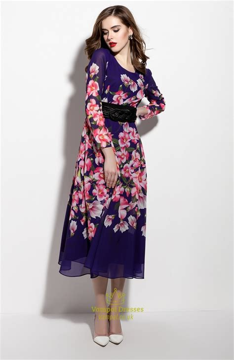 Print Sleeve Chiffon Dress purple floral print sleeve chiffon dress with belt