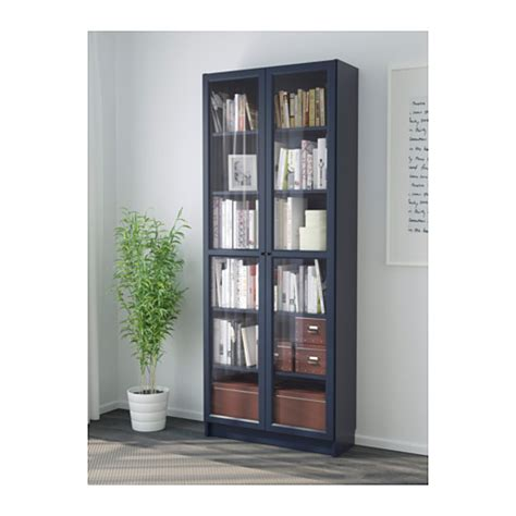 Billy Bookcase With Glass Door Dark Blue 80x30x202 Cm Ikea Ikea Bookcases With Glass Doors